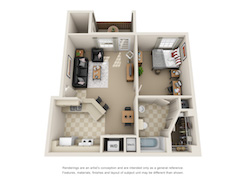 Floor plan of a one bed, one bath student apartment