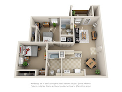 Floor plan of a two bed, two bath student apartment