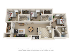 Floor plan of a three bed, three bath student apartment